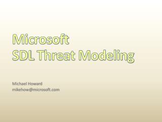 Microsoft  SDL Threat Modeling
