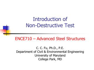 Introduction of  Non-Destructive Test
