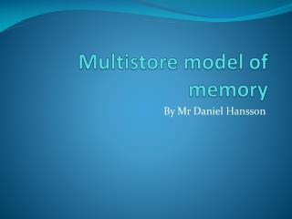 Multistore model of memory