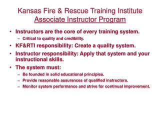Kansas Fire  Rescue Training Institute Associate Instructor Program