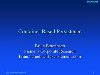 Container Based Persistence