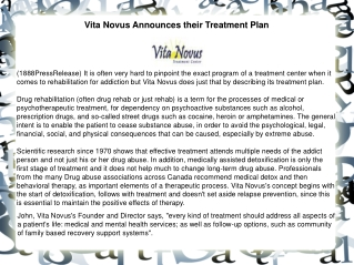 Vita Novus Announces their Treatment Plan