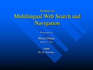 Seminar on Multilingual Web Search and Navigation