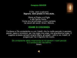 Compieta GIOVED