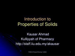 Introduction to  Properties of Solids