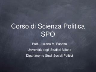 Corso di Scienza Politica SPO