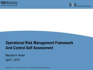 Operational Risk Management Framework And Control Self Assessment
