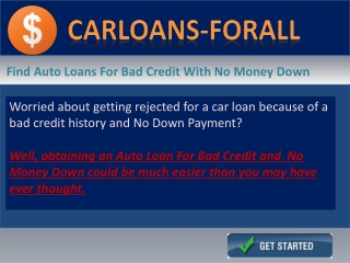 Car Loans For People with  Bad Credit With No Money Down