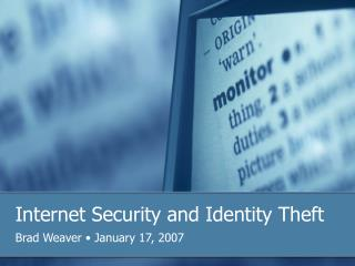 Internet Security and Identity Theft