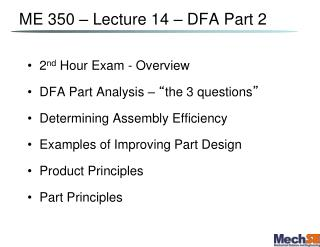 ME 350   Lecture 14   DFA Part 2