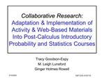 Collaborative Research: Adaptation  Implementation of Activity  Web-Based Materials Into Post-Calculus Introductory Prob