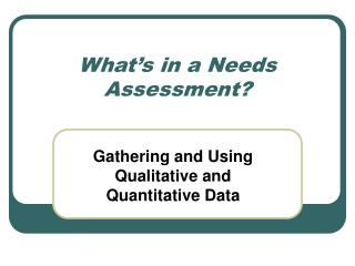 What s in a Needs Assessment