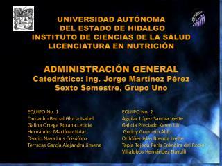 UNIVERSIDAD AUT NOMA  DEL ESTADO DE HIDALGO INSTITUTO DE CIENCIAS DE LA SALUD LICENCIATURA EN NUTRICI N  ADMINISTRACI N