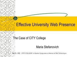 Effective University Web Presence