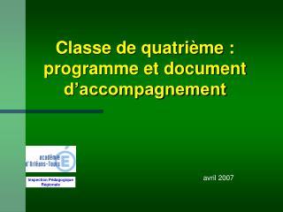Classe de quatri me : programme et document d accompagnement