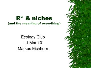 R  niches  and the meaning of everything