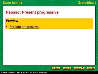 Preview Present progressive