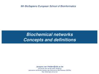 Biochemical networks  Concepts and definitions