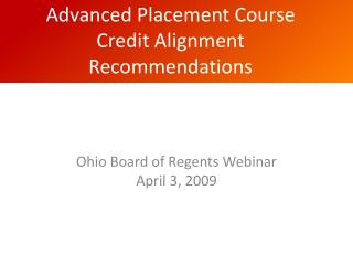 Advanced Placement Course Credit Alignment Recommendations