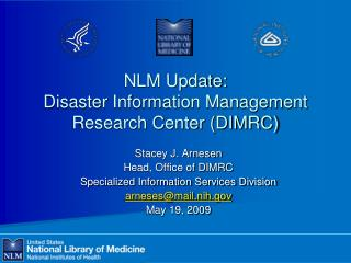 NLM Update: Disaster Information Management Research Center DIMRC
