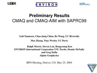 Preliminary Results CMAQ and CMAQ-AIM with SAPRC99