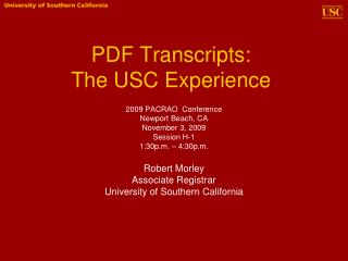 PDF Transcripts:  The USC Experience
