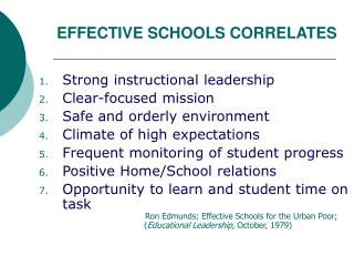 EFFECTIVE SCHOOLS CORRELATES