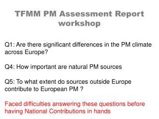 TFMM PM Assessment Report workshop
