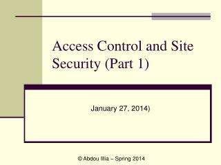 Access Control and Site Security Part 1