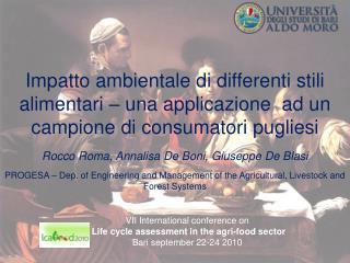 Impatto ambientale di differenti stili alimentari   una applicazione  ad un campione di consumatori pugliesi  Rocco Roma