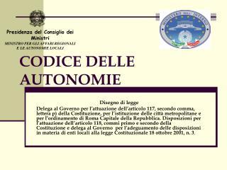 CODICE DELLE AUTONOMIE