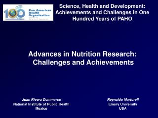 Science, Health and Development: Achievements and Challenges in One Hundred Years of PAHO