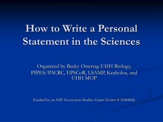 How to Write a Personal Statement in the Sciences