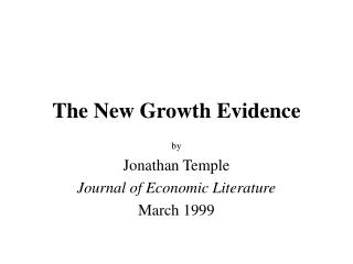 The New Growth Evidence
