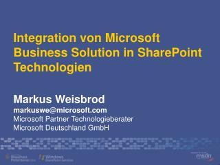 Integration von Microsoft Business Solution in SharePoint Technologien
