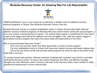 Muskoka Recovery Center: An Amazing Way For Life Rejuvenatio