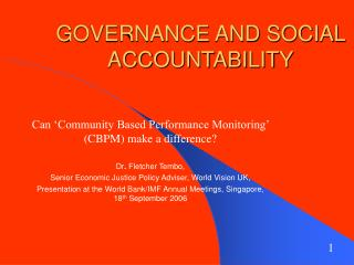 GOVERNANCE AND SOCIAL ACCOUNTABILITY