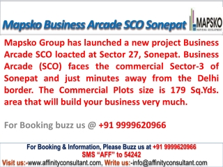 Mapsko Business Arcade @09999684166 SCO Plots Sonepat