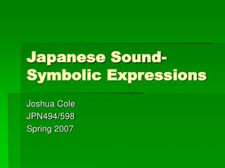 Japanese Sound-Symbolic Expressions