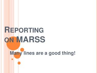 Reporting  on MARSS