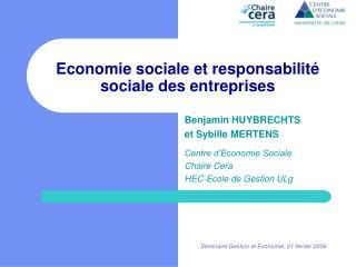 Economie sociale et responsabilit  sociale des entreprises
