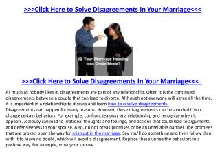 How Solving Your Disagreements Can Save Your Marriage