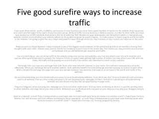 Five good surefire ways to increase traffic