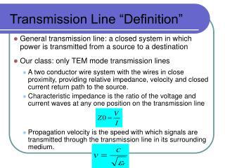 Transmission Line  Definition