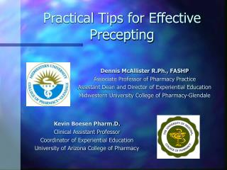Practical Tips for Effective Precepting