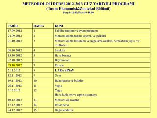 METEOROLOJI DERSI 2012-2013 G Z YARIYILI PROGRAMI Tarim EkonomisiZootekni B l m  Pers:9-11.00; Pazt:16-18.00