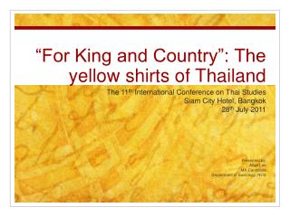 For King and Country : The yellow shirts of Thailand