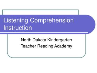Listening Comprehension Instruction
