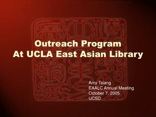 Outreach ProgramAt UCLA East Asian Library
