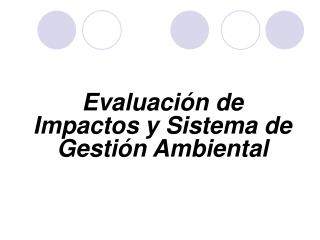 Evaluaci n de Impactos y Sistema de Gesti n Ambiental